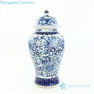 RZOY24 Blue and white hand paint interlock lotus branches porcelain jar