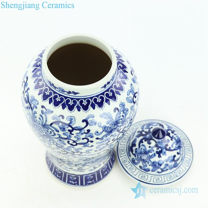 interlock lotus branches porcelain jar