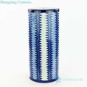 RZOY25 Glistening light of sea wave design indigo blue and white zigzag strip porcelain lamp