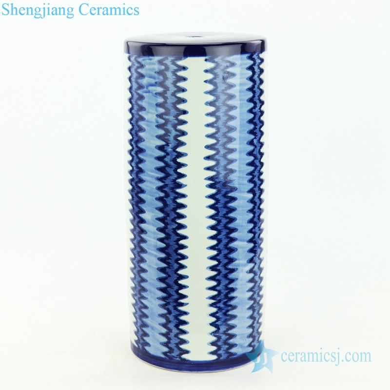 indigo blue and white zigzag strip porcelain lamp