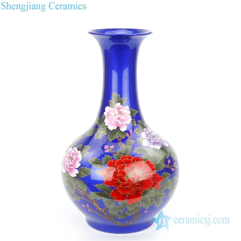full belly blue floral ceramic vase