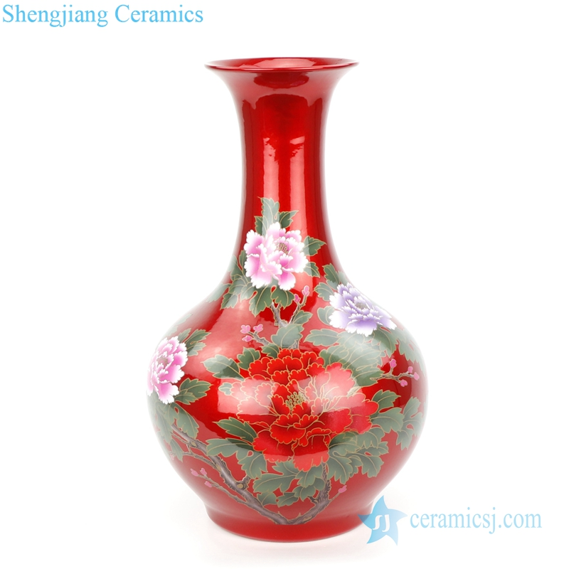 oily surface red ceramic vase