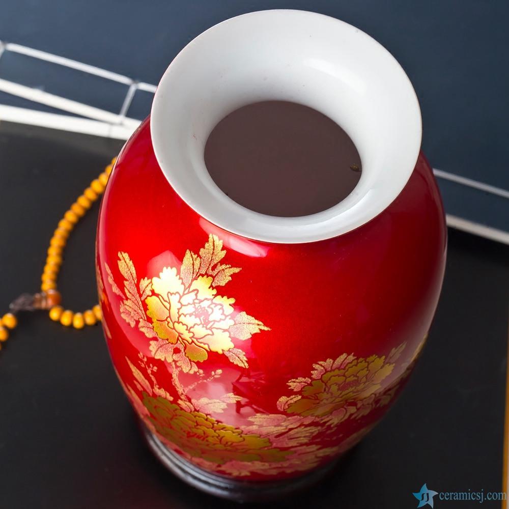 gold shinny flower red porcelain vase