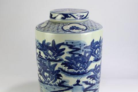 RZFZ08 Shengjiang purely manual ceramic with landscape design tea jar