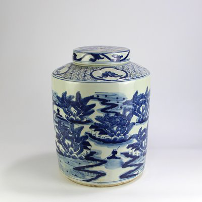 covered ceramic with beautiful landscape jar