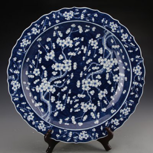 RYQQ44-D Ancient blue and white ceramic with wintersweet pattern dispaly plate