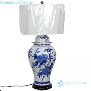 DS-RYLU128 Jingdezhen traditional blue and white floral design ceramic lamp