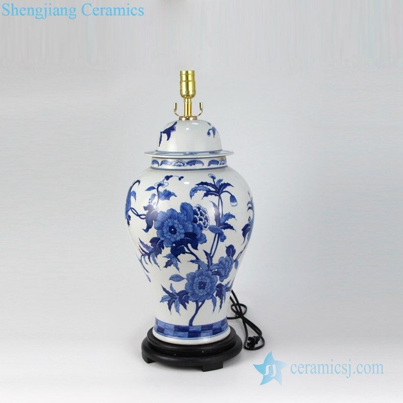 porcelain lamp with white lampshade