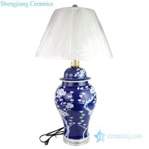 DS-RYLU162 Deep blue background flower design porcelain lamp
