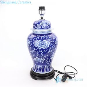 DS-RYLU179 Black foundation beautiful flower pattern porcelain lamp
