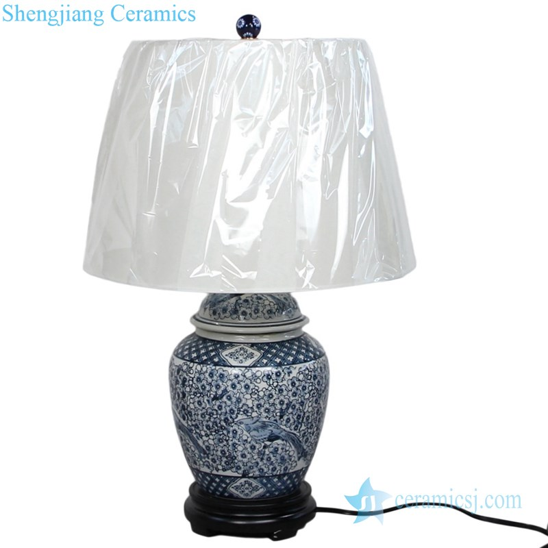 traditional blue and white ceramic lamp