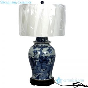 DS-RZFI05-B Pure hand painted portraiture pattern porcelain lamp