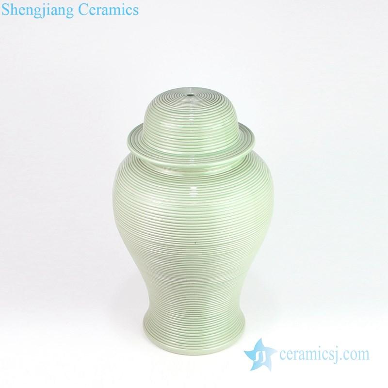 ginger jar shape green ceramic lam