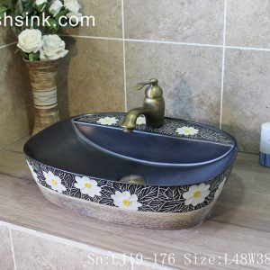 LJ19-176 Modern style beautiful flower design ceramic wash basin