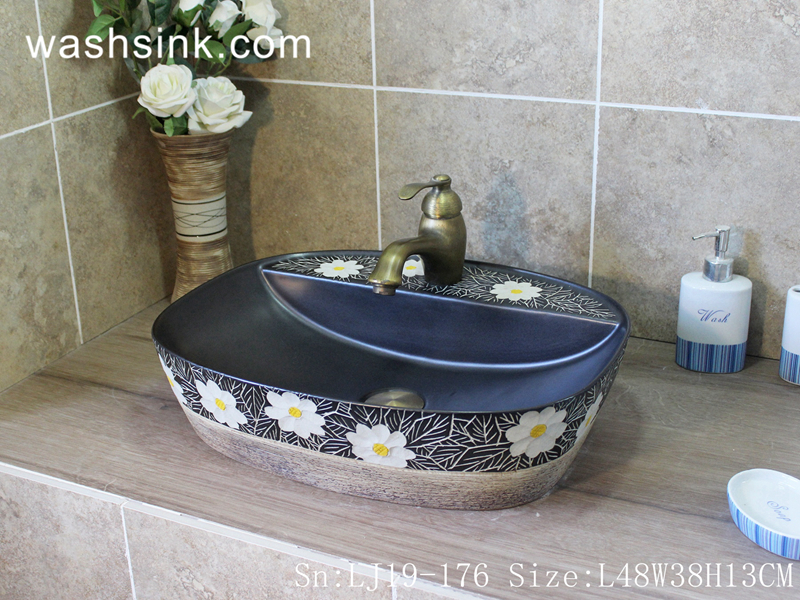 traditional flower design wash basin