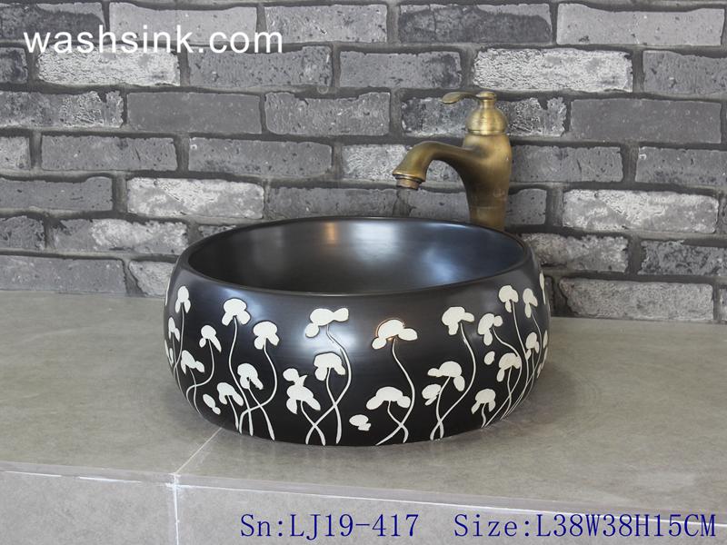 carved flower design wash sink