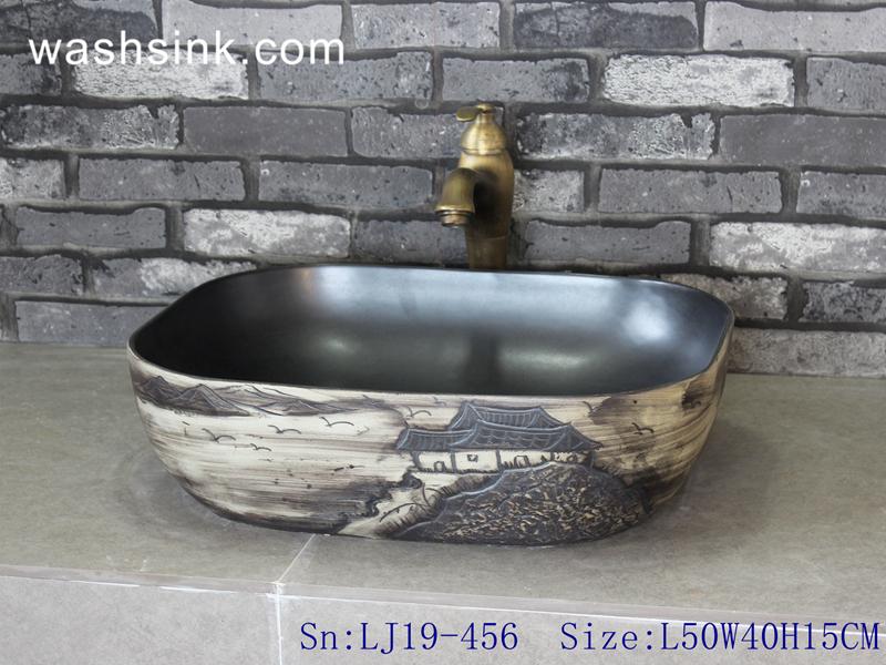 deep color ceramic art sink