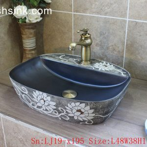 LJ19-x195 Grey background white flowers design ceramic wash sink