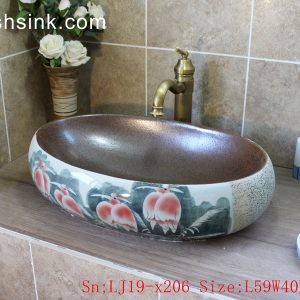 LJ19-x206 Glossy oval famille rose bird design ceramic art sink