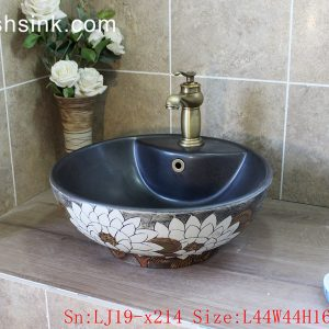 LJ19-x214 Wholesale price ceramic with design of carved white lotus ceramic wash basin