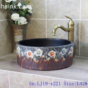 LJ19-x221 Column colorful flowers design ceramic sanitary ware