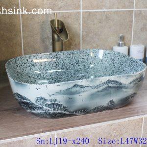 LJ19-x240 Marble color inside landscape design ceramic wash sink