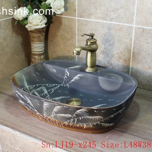 LJ19-x245 Free hand painted bird and floral design ceramic wash sink