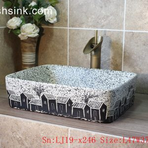LJ19-x246 Imitating marble black house design ceramic wash basin