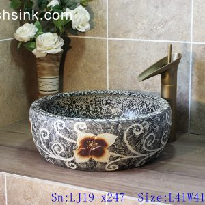 LJ19-x247 Shengjiang hot sale carved flower pattern porcelain art sink
