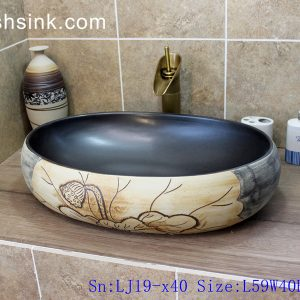 LJ19-x40 Arts and crafts ceramic with lotus design wash sink