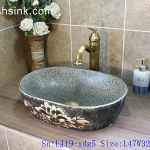 LJ19-xdg5 Traditional wax gourd shape hand carved artistic flower design porcelain sanitary ware