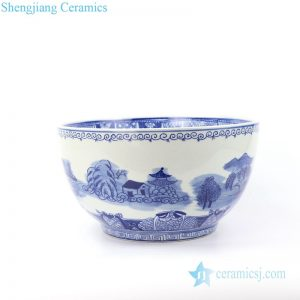 RYLU158-A Hand painted landscape design ceramic fish bowl