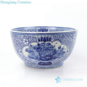 RYLU158-B Jingdezhen traditional blue and white flower design ceramic fish bowl