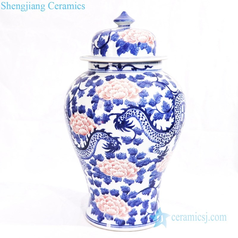 hand drawing ceramic jar with lid