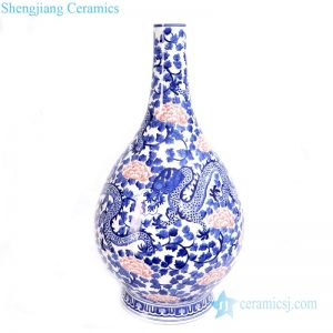RYLU165 Chinese traditional ceramic with dragon design vase