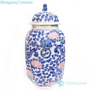 RYLU166 Antique high skill blue and white ceramic jar with lid