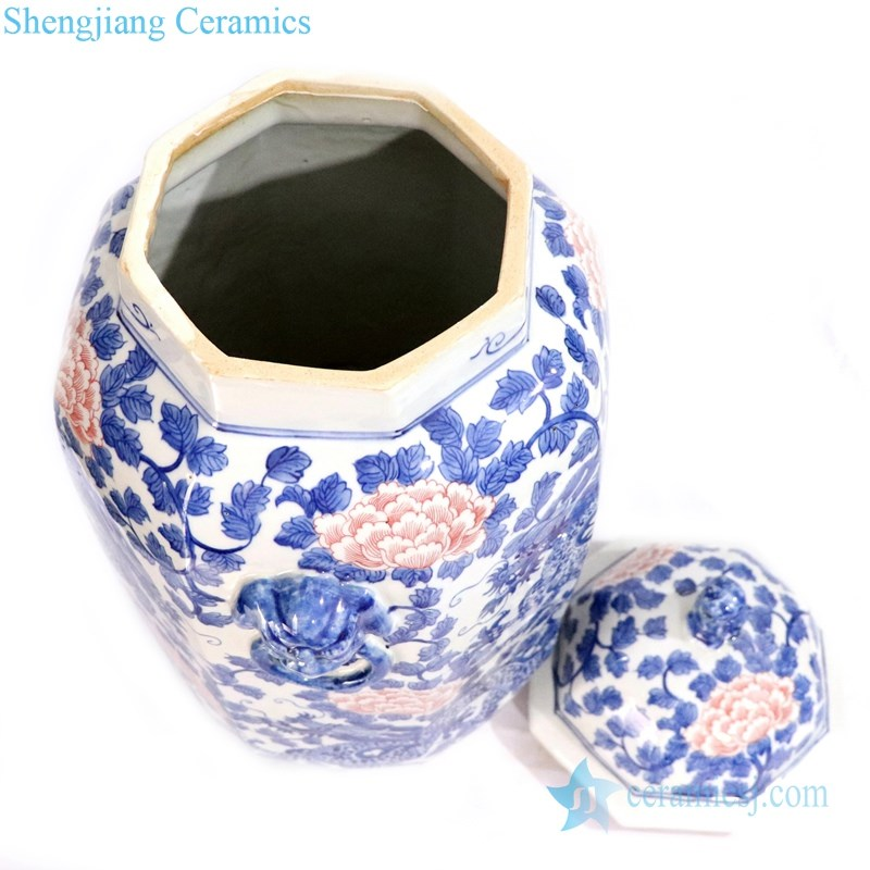 hand painted vase with peony design