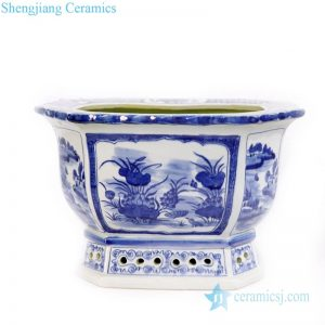 RYLU167 Hand drawing blue and white reproduction polygonal flower pot