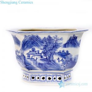 RYLU168  Hand painted blue and white ceramic with landscape and portraiture design flower pot