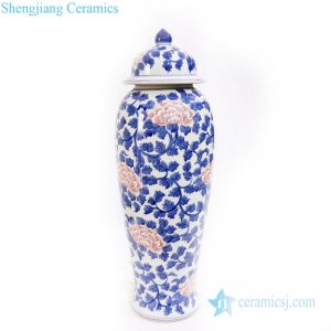 RYLU171 Traditional wax gourd ceramic with peony pattern jar