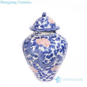 RYLU172 Blue and white classical ceramic with dragon and phoenix design jar