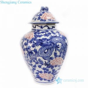 RYLU173 Chinese style blue and white underglaze red covered ceramic jar
