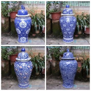 RYLU175-A-B-C-D Jingdezhen best selling blue and white storage jar with lid