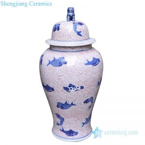 RYLU175-G Shengjiang traditional blue and white ceramic with fish pattern storage jar