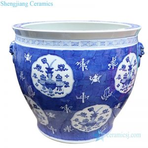 RYLU176-A Antique hand painted chinese style ceramic with two handles pot