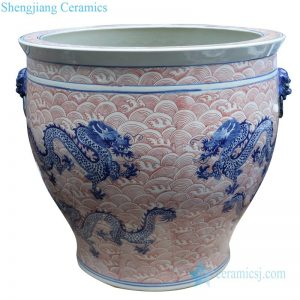 RYLU176-B Blue and white underglaze red ceramic with seawater pattern pot