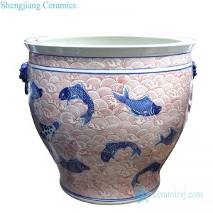 RYLU176-C Shengjiang pure hand underglaze red ceramic with fish pattern pot