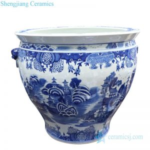 RYLU176-D Shengjiang hand drawing ceramic with landscape design goldfish bowl