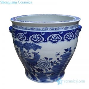 RYLU176-F Chinese traditional blue and white ceramic with floral and bird design pot