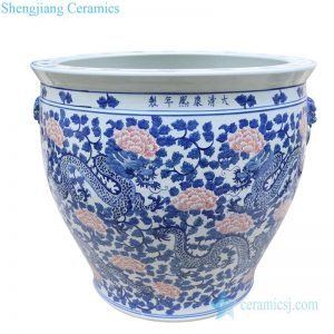 RYLU176-H Artistic underglaze red ceramic with dragon design pot